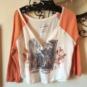 Free People Red Rose Rockstar Cropped Tee